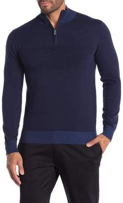 Raffi Ottoman Ribbed Panel Knit Partial Zip Sweater