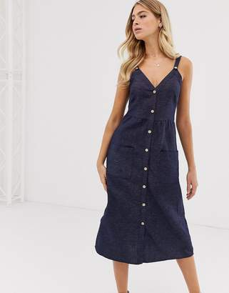 Pimkie cami dress with button front in blue denim