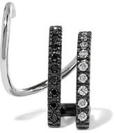 Maria Black - Bess Mono Twirl 14-karat White Gold, Rhodium-plated And Diamond Earring - L