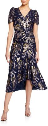 Shoshanna Chloe Rose Floral Metallic Short-Sleeve Shirred Dress