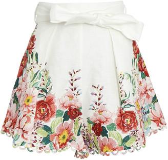 Zimmermann Bellitude Floral High-Waist Shorts