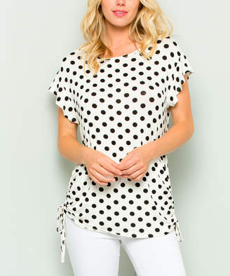 Acting Pro Women's Tee Shirts Ivory - Ivory Dot Side-Ruched Ruffle-Sleeve Dolman Top - Women