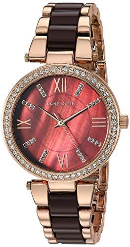 Anne Klein Women's AK/3350BNRG Swarovski Crystal Accented Rose Gold-Tone and Brown Resin Bracelet Watch