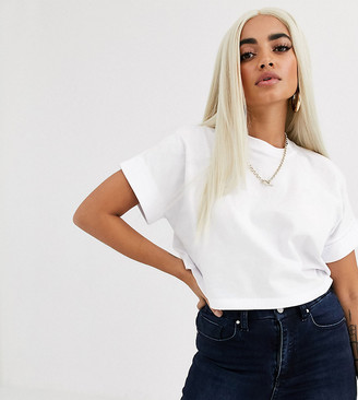 Asos DESIGN Petite crop t-shirt with roll sleeve in white
