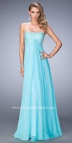 La Femme Empire Crystal Embellished Chiffon Prom Gown