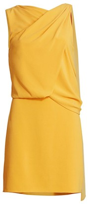 Halston Asymmetrical Draped Mini Dress