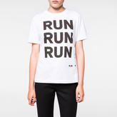 Paul Smith Women's White 'Run' Print Organic-Cotton T-Shirt