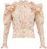 Matty Bovan - Ruffled Liberty-print Poplin Blouse - Womens - Light Pink