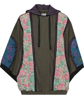 RED Valentino Cotton-blend Jersey, Printed Crepe And Shell Hooded Jacket