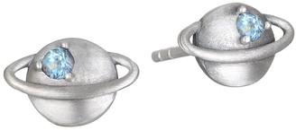 Satya Sterling Blue Topaz Saturn Stud Earrings