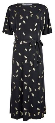 Dorothy Perkins Womens **Tall Black Foil Feather Print Midi Dress, Black