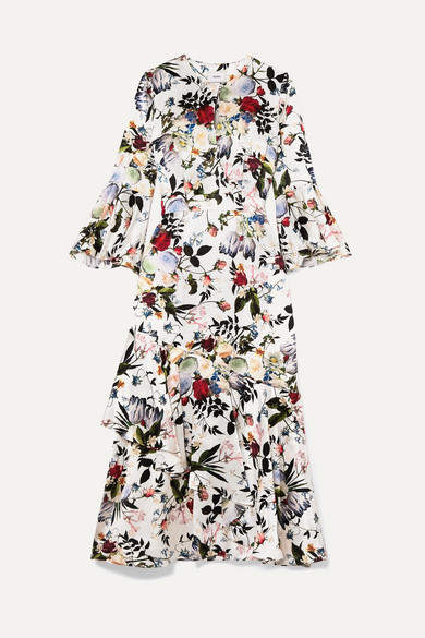 Erdem Florence Floral-print Silk Midi Dress - White