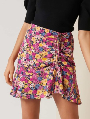 Forever New Mila Ruched Mini Skirt - Clustered Ditsy - 12