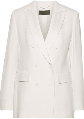 Max Mara Double-breasted Satin-trimmed Washed-crepe Blazer