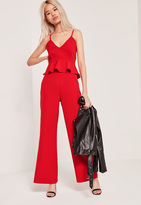 Missguided Petite Exclusive Red Wide Leg Trousers