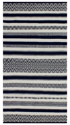 French Connection Anwar Southwestern Handmade Flatweave Cotton Black Area Rug Rug Size: Rectangle 3' x 5'