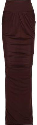 Rick Owens Lilies Asymmetric Ribbed Knit-paneled Jersey Skirt