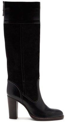 Chloé Block-heel Stretch-suede And Leather Boots - Black