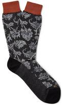 Etro Floral-patterned Cotton-jacquard Socks - Dark gray
