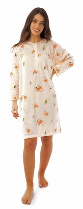 I Smalls i-Smalls Ladies Length Long Sleeve Regular Fit Brushed Cotton Nightdress with Intricate Flower Bud Design with Vibrant Colour Range(XL) Cream