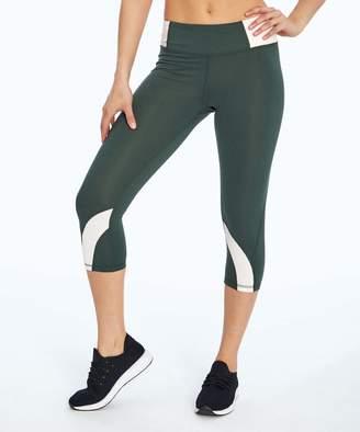 Marika Sport Women's Active Pants DARK - Dark Forest & Pea Color Block Dry-Wick Mid-Rise Capri Leggings - Women