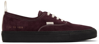 Common Projects Burgundy Suede Four Hole Sneakers