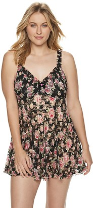 Lunaire Plus Size Rose Print Lace Babydoll with Underwire