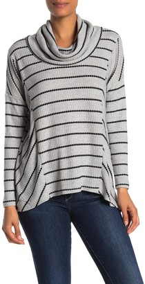 Catherine Malandrino Waffle Knit Cowl Neck Long Sleeve Top