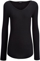 Joseph Cotton Cashmere Rib V Neck Top in Black