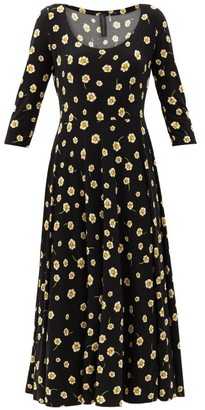Norma Kamali Scoop-neck Floral-print Jersey Dress - Black Print