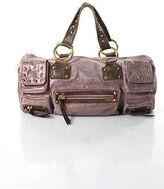 Betsey Johnson Purple Glitter Studded Pocket Front Barrel Shoulder Handbag