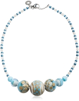 Antica Murrina Veneziana Papaya 2 Light Blue Pastel Murano Glass Choker