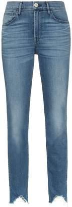 3x1 Straight authentic crop distressed hem skinny jeans