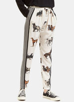 Stella McCartney Women's Dog Print Silk Trousers in white