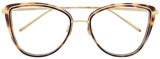 Linda Farrow Tortoiseshell-Effect Butterfly-Frame Glasses