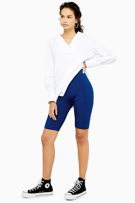 Topshop Womens **Navy Knitted Cycling Shorts By Navy Blue