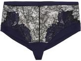 La Perla Talisman Satin-trimmed Embroidered Leavers Lace Briefs - Black