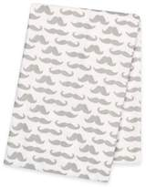 Trend Lab Mustaches Deluxe Flannel Swaddle Blanket in Grey