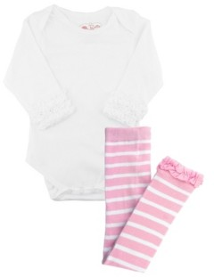 RuffleButts Baby Girls Bodysuit and Stripe Tight Set