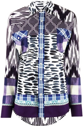 Pierre Louis Mascia mixed-print long-sleeved shirt