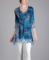 Lily Blue Vines Sidetail Tunic - Plus Too