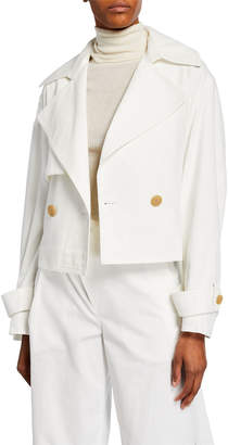 Vince Cropped Belted Linen-Cotton Jacket