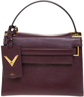 Valentino Burgundy Leather Flap Top Handle Bag