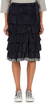 Comme des Garcons Women's Crinkled Floral Jacquard Tiered Midi-Skirt