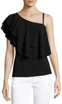 Neiman Marcus Tiered-Ruffle One-Shoulder Top, Black