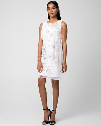 Le Château Floral Print Crepe Chiffon Cocktail Dress