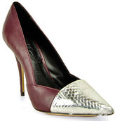 Elizabeth & James - Sash - Wine Leather Pump with Metallic Pattern Toe Cap