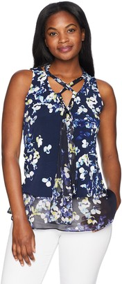 Ellen Tracy Women's Lace Up Front Knit Top