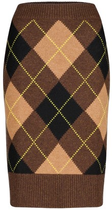 Burberry Argyle wool and cashmere midi skirt