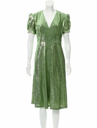 HVN V-Neck Midi Length Dress w/ Tags Green
